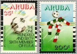 ARUBA 1990 NVPH 76-77 SPORTS VOETBAL SOCCER FUSSBALL FOOTBALL - Curaçao, Antille Olandesi, Aruba