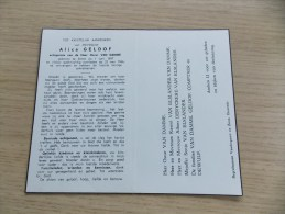 Doodsprentje Alice Geldof Stene 1/6/1897 - 23/5/1966 ( Oscar Van Damme) - Religion & Esotérisme