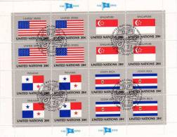UNO 1981 Flaggen II COSTA RICA New York 388,4-Block+Kleinbogen O 6€ USA Singapur Panama Costa Rica Bloc Bf United Nation - Costa Rica