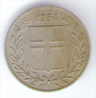 ISLANDA 25 AURAR 1954 - Islandia