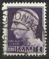 1945 Luogotenenza: Imperiale Senza Fasci Senza Fil., Emis. Di Roma 1 Lira Usato - 5. 1944-46 Luogotenenza & Umberto II