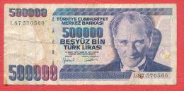 B181 / 1970 - 500 000 TURK LIRASI - Turkey Turkije Turquie Turkei  - Banknotes Banknoten Billets Banconote - Turkey