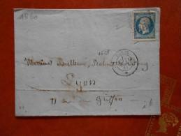 LL.08_lettre  De Paris ;variété Sur N°14 ; - Postmark Collection (Covers)