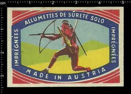 Old Original  Poster Stamp - Matchbox Label - Indian People Indians Bow And Arrow - Boites D'allumettes - Etiquettes
