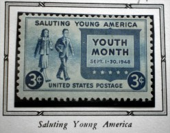 UNITED STATES USA SALUTE TO YOUTH SALUTING YOUNG AMERICA  3 C  1948 MNH - United States