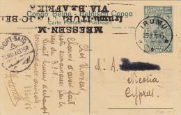 Belgisch Congo - 15 Ct Ganzsache Von IRUMU Nach Zypern Nicosia über Port Said - - Ganzsachen