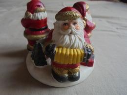 Ancien Bougeoir De Noël En Plâtre- 3 Pères-Noël - - Decorative Items