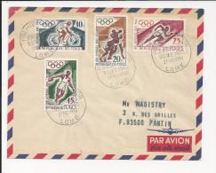 Lettre Du Togo De 1960 Pour La France - FDC - Athlétisme - Course - Lancer Du Disque - Cyclisme - Boxe -enveloppe - Summer 1960: Rome