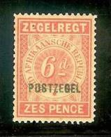 "TRANSVAAL 1895 Mint Never Hinged Stamp(s) 6d Zegelrecht Overprinted ""postzegel"" Sacc-nr 221 - South Africa (...-1961)"