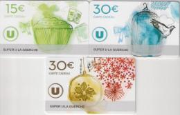 3  CARTE CADEAU SUPER U  LA GUERCHE DE BRETAGNE   (35)    TTBE - Cartes Cadeaux