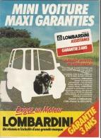 Publicité  LOMBARDINI Mini Voiture Maxi Garanties - Autres