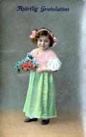 Kleines Mädchen Mit Blumenstrauss, Glückwunsch-Glanzkarte 1914 Gelaufen, Gute Erhaltung - Kinder