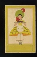 Carte Fantaisie Femme Tenant Un Gâteau - Boulangère ?? - Croissant - Dorures - Woman - Frau - Women