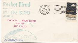 SPACE - USA -1970 - JAVELIN EXPOSPHERE   ROCKET WITH  SEP 1 1970  WALLOPS ISLAND POSTMARK - Covers & Documents