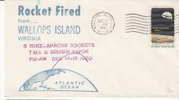 SPACE - USA -1970- NIKE APACHE  ROCKET WITH DEC 14-15 1970 WALLOPS ISLAND POSTMARK - Covers & Documents