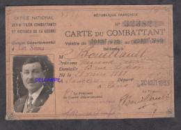 Carte Ancienne De Combattant - F.D. Bouillault Né à Sancerre En 1888 - 1935 / 1940 - Alte Papiere