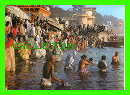 INDIA - GHATS IN VARANASI - LADIES & MEN TAKING HOLY DIPS INTO THE HOLY WATER OF GANGA - INDICA CARDS - - Inde
