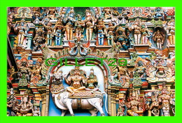 MADURAI CITY, INDIA - DETAILED SCULPTURES IN WEST TOWER, SRI MEENAKSHI TEMPLE  - PHOTO CREDITS: BRAHAN - VIVEK CARDS - - Inde