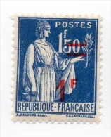 """""""Timbres De 1932-38 Surchargés"""" - 1940-41 - N° 485 - 1 F Sur 1 F 50  Bleu - Neuf  - Très Bon état - - France"""