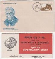 FDC + Information On Franklin Roosevelt, Franklin Roosevelt Of United States, Poliomyelitis Disease Victim , India 1983 - Celebrità