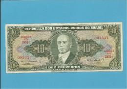 BRAZIL - 10 CRUZEIROS -  ND ( 1962 ) - Pick 177a - SIGN. 10 - SÉRIE 2857 - ESTAMPA 2A - TESOURO NACIONAL - VALOR LEGAL - Brazil