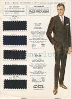 Publicité  Advertising Fashion Mode  Men´s Fine Tailored Suits( 1962  Image Avec 5 échantillons De Tissu ) - Publicidad