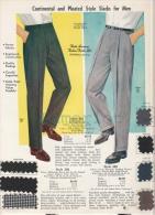Publicité  Advertising Fashion Mode  Men´s Slacks( 1962  Image Avec 7 échantillons De Tissu ) - Publicidad