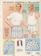 Publicité  Advertising Fashion Mode  Men´sunderwear ( 1962  Image Avec 5 échantillons De Tissu ) - Moda & Accesorios
