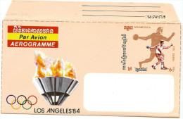 REF CIRC4 - REP KAMPUCHEA - AEROGRAMME NEUF ACEP  N°2  JEUX OLYMPIQUES LOS ANGELES - Kampuchea