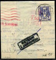 FRANCE - CHAINES BRISÉES - N° 673 + O.M. ROUGE 1,5F DE PANTIN / LETTRE DU 26/3/1945, POUR FONTENAY - TB & RARE - 1941-66 Escudos Y Blasones