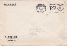 """Suisse 1946 Obl Méca """"LAUSANNE 1 DEPOT P.P."""" Sur Lettre Imrimé Pour La France - Postage Meters"""
