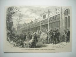 GRAVURE 1861. VISITE DU ROI GUILLAUME III DE HOLLANDE, AU JARDIN ZOOLOGIQUE D'AMSTERDAM. - Stiche & Gravuren