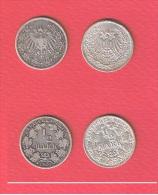 ALLEMAGNE //  Lot De 1/2 Mark  //  1906 A -1906 D - [ 2] 1871-1918: Deutsches Kaiserreich