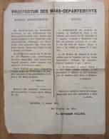 GUERRE De 1870 : AFFICHE De Propagande, Avancée Allemandes, Pertes Françaises. Bar Le Duc, Boulzicourt, 4 Janvier 1871 - Documents Historiques