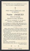 MORTINSART ..-- ETALLE ..-- Numa JACQUES , TINTIGNY 1897 . MORTINSART , 1927 . Epoux De Mme Marthe QUOIRIN . - Images Religieuses