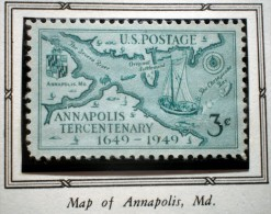 UNITED STATES USA MAP And ANNAPOLIS MD.  3 C  1949 MNH - Ongebruikt