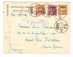 """FLOTTILLE YANG TSE Canonnière """"BALNY"""" (Kanonenboot) Brief Von PAHSIEN Nach St Pierre Oléron - Cina"""