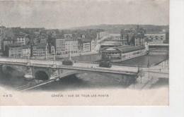 SUISSE - GENEVE - VUE DE TOUS LES PONTS - CPA N/B - VOYAGEE EN 1905 -  ANIMEE PERSONNAGES ET VIEUX BUS - GE Genève