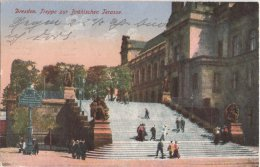 Dresden Treppe Brühlsche Terrasse Col 26.7.1920 Infla Frankatur Rückseitig Werbezudruck EG GÜ Edel Creme Politur Schuhe - Dresden