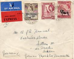 KENYA UGANDA LETTRE PAR EXPRES POUR L'ALLEMAGNE 1955 - Kenya, Uganda & Tanganyika