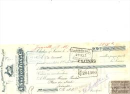 Lettre Change 9/12/ 1908 SAUTOT Vetements Fourrure Chalon Sur Sâone Pour Joinville Haute Marne - Timbre  Fiscal - Lettres De Change