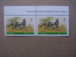 TANZANIA 1984-85 WILDLIFE Definitives REPRINTS By WADDINGTON  2/- Imprime PAIR  MNH. - Tanzania (1964-...)