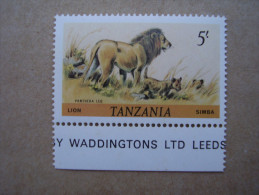 TANZANIA 1984-85 WILDLIFE Definitives REPRINTS By WADDINGTON  5/-  TOP VALUE IMPRIME  MNH. - Tanzania (1964-...)