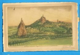 CP, 43, LE PUY, Les Rochers Aiguilhe Et Corneille Et La Cathédrale - Eau Forte Originale, Vierge, TRES TRES RARE - Le Puy En Velay