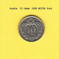 AUSTRIA   10  HELLER  1909  (KM # 2802) - Austria