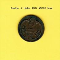 AUSTRIA   2  HELLER  1907  (KM # 2801) - Austria