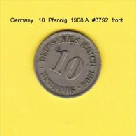 GERMANY   10  PFENNIG  1908 A  (KM # 12) - [ 2] 1871-1918 : German Empire
