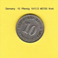 GERMANY   10  PFENNIG  1913 D  (KM # 12) - [ 2] 1871-1918 : German Empire