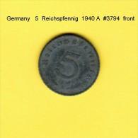 GERMANY   5  REICHSPFENNIG  1940 A  (KM # 100) - 5 Reichspfennig