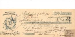 Lettre Change 1905 DERAMOND CADET Chapeaux De Paille SEPTFONDS Tarn Et Garonne Pour Gaillac Tarn - Timbre  Fiscal - Lettres De Change